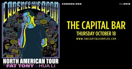 CADENCE WEAPON at The Capital Bar Thu Oct 18 2018 at 9:00 pm